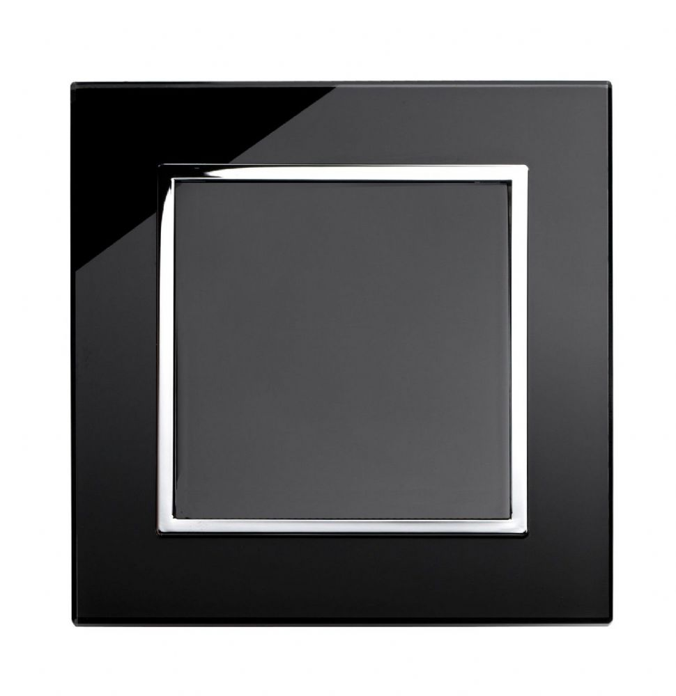RetroTouch Single Blank Plate Black Glass CT 00310